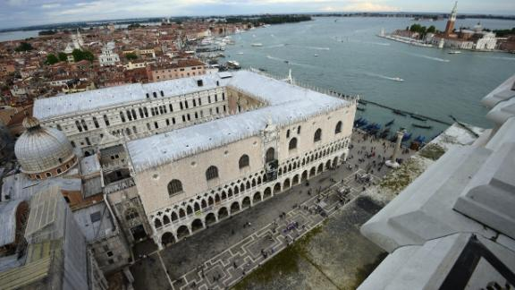 A general view taken from the top shows the Doge's Palace near St. Mark's Square (Piazza San Marco) in the city of Venice on May 23, 2015. AFP PHOTO / OLIVIER MORIN        (Photo credit should read OLIVIER MORIN/AFP/Getty Images)