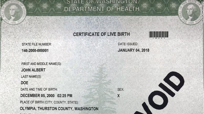 washington state offers three gender options for birth certificates ...