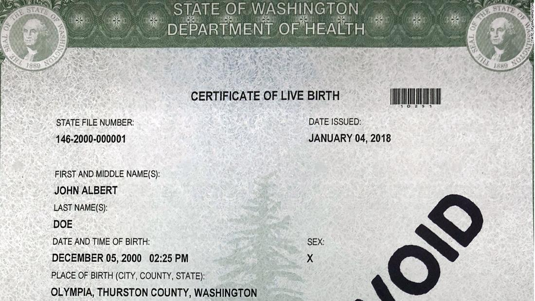 Washington State Offers Three Gender Options For Birth Certificates