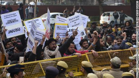 Dalit demonstrators shout slogans and protest in the Indian capital New Delhi, on January 3, 2018.