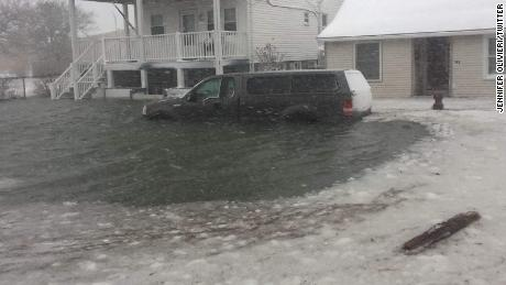 Water filled the streets of Hull, on the coast of Massachusetts.