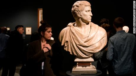 "The marble ""Bust of Brutus"" is displayed at the Michelangelo exhibit titled ""Michelangelo: Divine Draftsman and Designer"" at the Metropolitan Museum of Art, November 13, 2017, in New York."