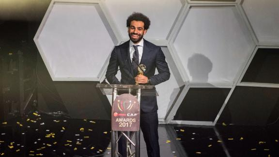 Egypt and Liverpool striker Mohammed Salah speaks during a press conference after the CAF awards at the Accra International Press Conference in Accra after winning the African Footballer of the Year award.