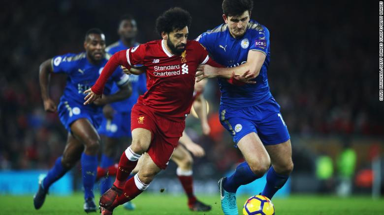 Mohamed Salah in action for his club side, Liverpool against Leicester City in December.