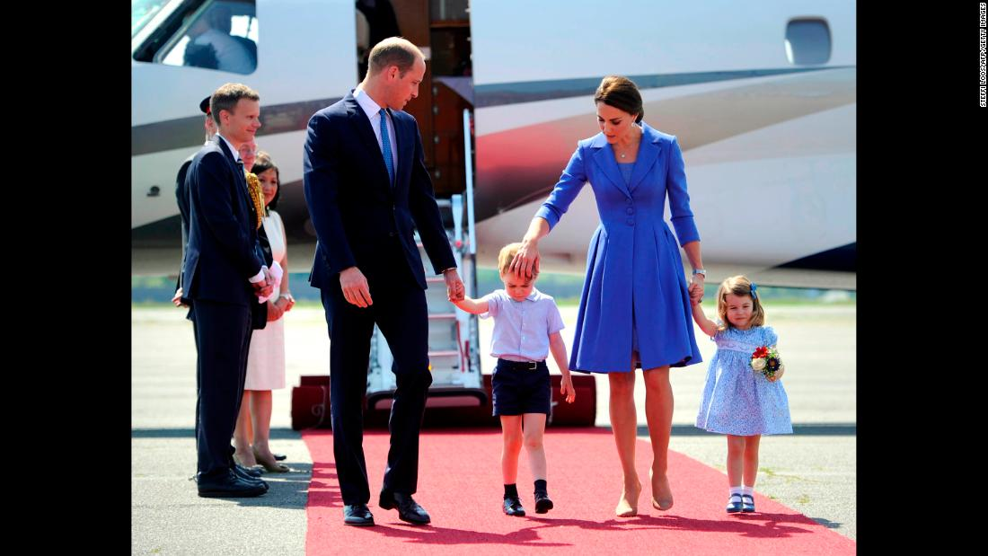 The royal family arrives at the airport in Berlin for a three-day visit in Germany in July 2017.