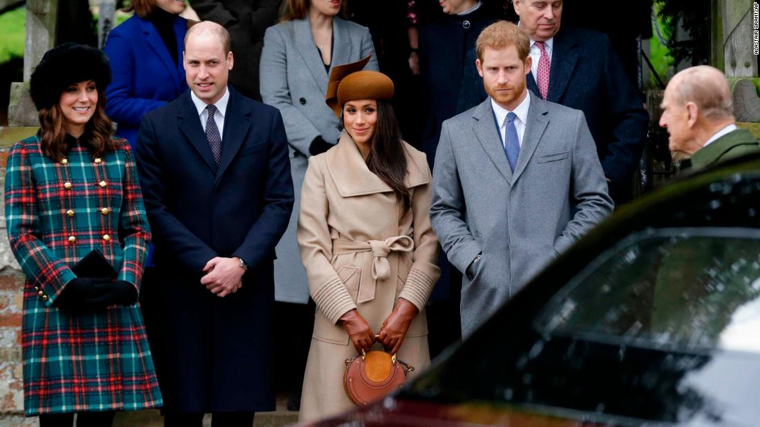 From left, Kate, Duchess of Cambridge, Prince William, Meghan Markle, Prince Harry and Prince Philip arrive for the traditional Christmas Day service on Monday, December 25, 2017, at St. Mary Magdalene Church in Sandringham, England.