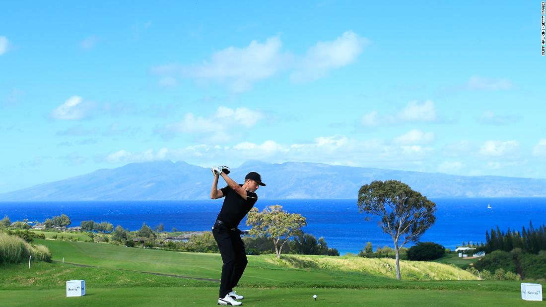 <strong>Wide open:</strong> Jonas Blixt tees off on the seventh on the Plantation Course at Kapalua Golf Club, Lahaina, Maui. The first event of the year on the PGA Tour was  the Sentry Tournament of Champions.