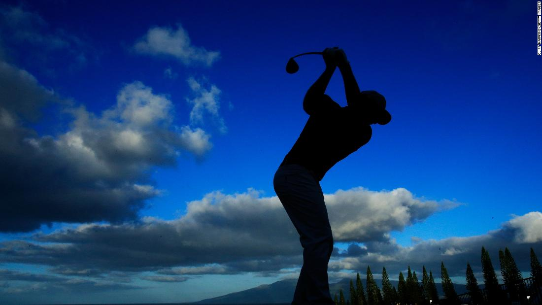 <strong>Guess who?: </strong>The mystery golfer is America's Kevin Chappell during the Sentry pro-am at Kapalua.