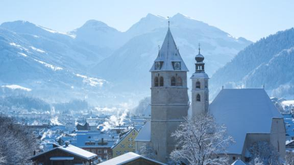 Chocolate-box charm: Away from the madness of race weekend, Kitzbuhel is one of the most beautiful settings in the Alps with a pretty, cobbled medieval center.