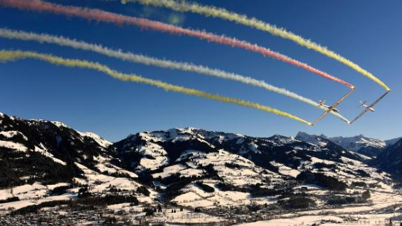 Blue riband: The Hahnenkamm downhill is the highlight of the World Cup circuit and race weekend creates a carnival atmosphere in Kitzbuhel.