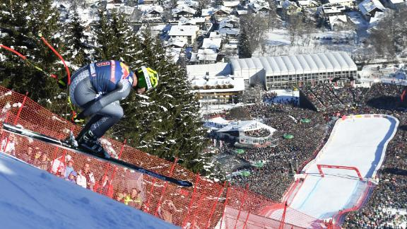 Hahnenkamm hysteria: The annual World Cup race on the Streif run is the scariest and hairiest on the circuit with thrills and plenty of spills to entertain the huge crowds that flood in.