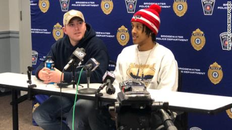 Ryan Saba (left) and Ray Armstead spoke to the media Friday about their winter storm heroism.