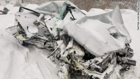 The vehicle struck by an MBTA commuter rail train was crushed in Bridgewater, Massachusetts.