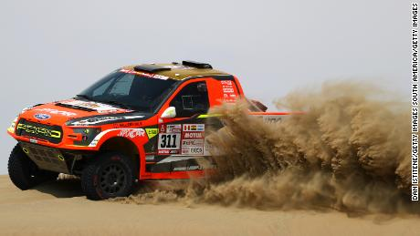 UNSPECIFIED, PERU - JANUARY 06:  Martin Prokop of the Czech Republic and Ford MP-Sports CZ drives with co-driver Jan Tomanek of Czech Republic in the F150 Evo Ford car in the Classe : T1.1 : 4x4 Essence during stage one of the 2018 Dakar Rally between Lima and Pisco on January 6, 2018 in UNSPECIFIED, Peru.  (Photo by Dan Istitene/Getty Images)