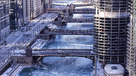 The Chicago River froze as temperatures in the aptly named Windy City hit minus 20 overnight.