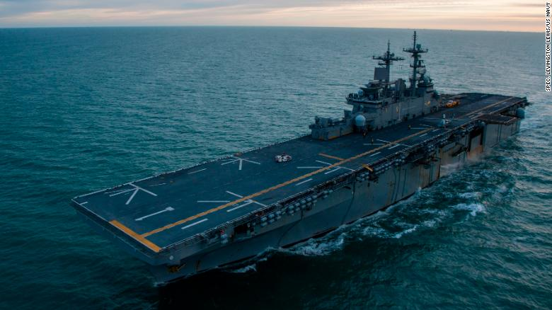 The amphibious assault ship USS Wasp (LHD 1) transits the Strait of Magellan in an undated US government photo.