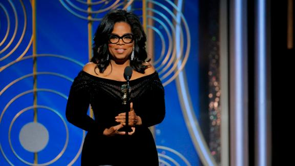 Oprah Winfrey accepts the 2018 Cecil B. DeMille Award  at the Golden Globe Awards.