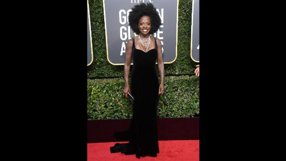 Viola Davis attends the 75th annual Golden Globe Awards on Sunday, January 7. Many celebrities were wearing black on the red carpet to raise awareness of gender and racial inequality.