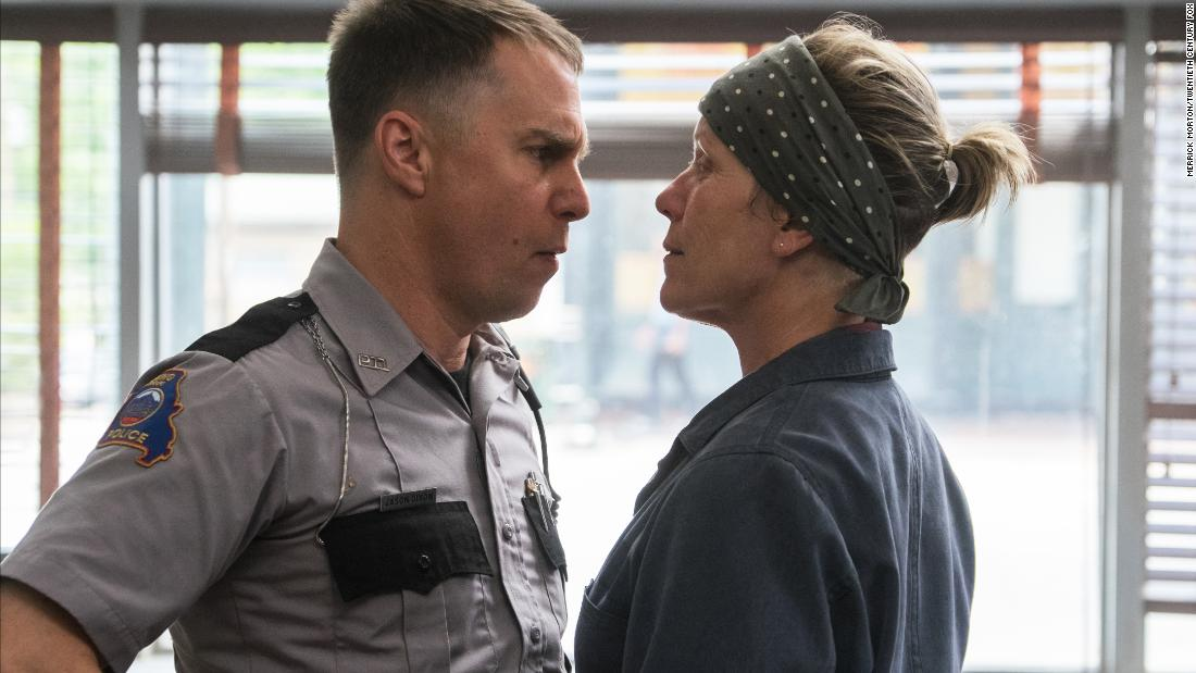 "<strong>Best supporting actor in a motion picture:</strong> Sam Rockwell, ""Three Billboards Outside Ebbing, Missouri"""
