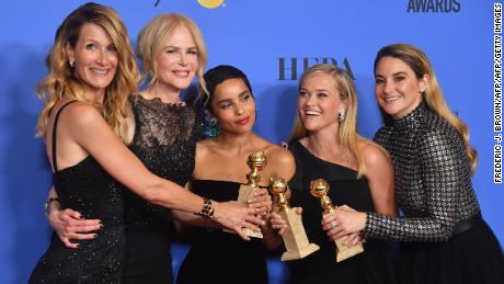 Laura Dern, Nicole Kidman, Zoe Kravitz, Reese Witherspoon and Shailene Woodley bacstage at the Golden Globes after their show 'Big Little Lies' won best limited series.