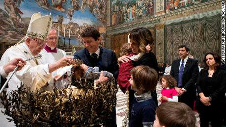 Francis baptized 34 babies during the annual ceremony.