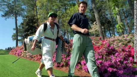 4 APR 1994:  NICK FALDO OF ENGLAND  AND HIS CADDIE FANNY SUNESSON OF SWEDEN WALKING TO THE 6TH GREEN AT THE AUGUSTA NATIONAL GOLF CLUB DURING THE FIRST OFFICIAL PRACTICE ROUND OF THE 1994 US MASTERS. Mandatory Credit: Steve Munday/ALLSPORT