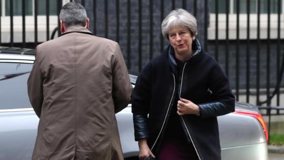 British Prime Minister Theresa May arrives at 10 Downing street in London on January 8, 2018.