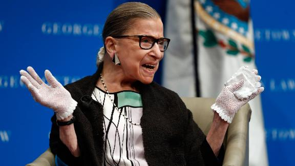 """In this Sept. 20, 2017 photo, U.S. Supreme Court Justice Ruth Bader Ginsburg reacts to applause as she is introduced by William Treanor, Dean and Executive Vice President of Georgetown University Law Center, at the Georgetown University Law Center campus in Washington.  During a speech in September at Georgetown University's law school the 84-year-old referred to herself as """"Rapid Ruth"""" and to Justice Sonia Sotomayor as """"Swift Sonia.""""  The Supreme Court on Wednesday handed down its first opinion in a case heard this term. And it was Ginsburg, the court's oldest justice, who authored the unanimous opinion.  (AP Photo/Carolyn Kaster)"""