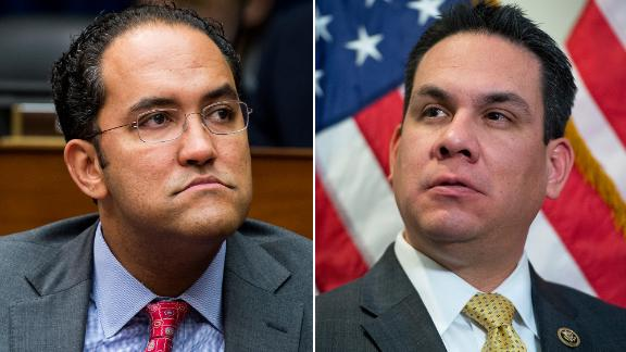 Reps. Will Hurd, at left, a Texas Republican, and Pete Aguilar, a California Democrat.