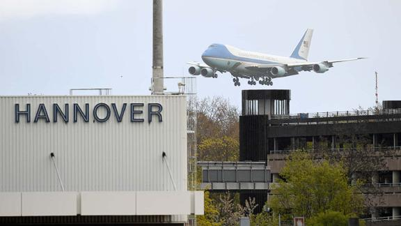 <strong>No.2 Small Airport: Hannover Airport:</strong> Germany's Hannover Airport has a punctuality average of 89.34%. Pictured: Air Force One carrying President Obama approaches Hannover Airport in 2016.