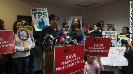 Rodman Serrano, of Long Island, the son of TPS parents speaks as immigrants, allies and elected officials hold a press conference to demand that the Department of Homeland Security extend Temporary Protected Status (TPS) for more than 195,000 Salvadorans on January 8, 2018 in New York. The US government announced Monday the end of a special protected status for about 200,000 Salvadoran immigrants, a move that threatens with deportation tens of thousands of well-established families with children born in the United States. / AFP PHOTO / Bryan R. SmithBRYAN R. SMITH/AFP/Getty Images