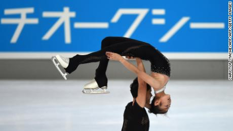 Ryom Tae-Ok and Kim Ju-Sik of North Korea perform during their pairs free skating program of the 49th Nebelhorn trophy figure skating competition in Oberstdorf, southern Germany, on September 29, 2017. / AFP PHOTO / Christof STACHE        (Photo credit should read CHRISTOF STACHE/AFP/Getty Images)