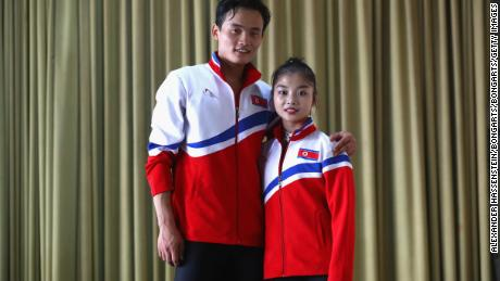 OBERSTDORF, GERMANY - SEPTEMBER 29:  Tae Ok Ryom and Ju Sik Kim of DPR Korea pose for a picture during the 49. Nebelhorn Trophy 2017 at Eishalle Oberstdorf on September 29, 2017 in Oberstdorf, Germany.  (Photo by Alexander Hassenstein/Bongarts/Getty Images)