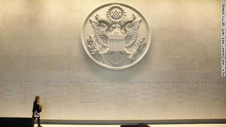 The lobby of the new embassy lists the names of previous US Ambassadors.