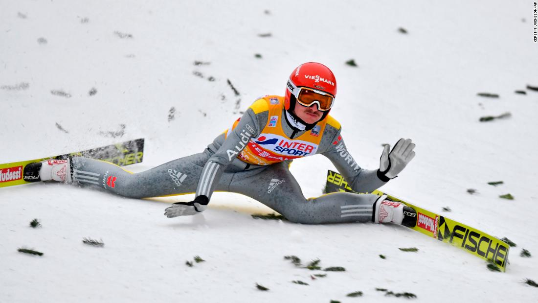 German ski jumper Richard Freitag falls Thursday, January 4, during the Four Hills Tournament in Innsbruck, Austria. He injured his hip and couldn't continue.