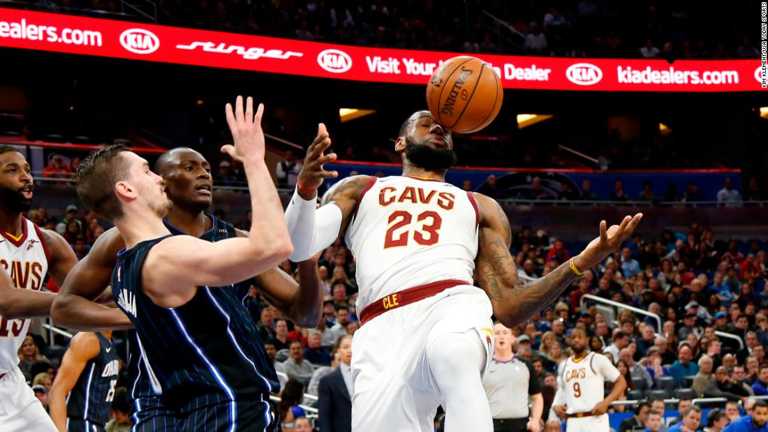 A ball hits LeBron James in the face during an NBA game in Orlando on Saturday, January 6.