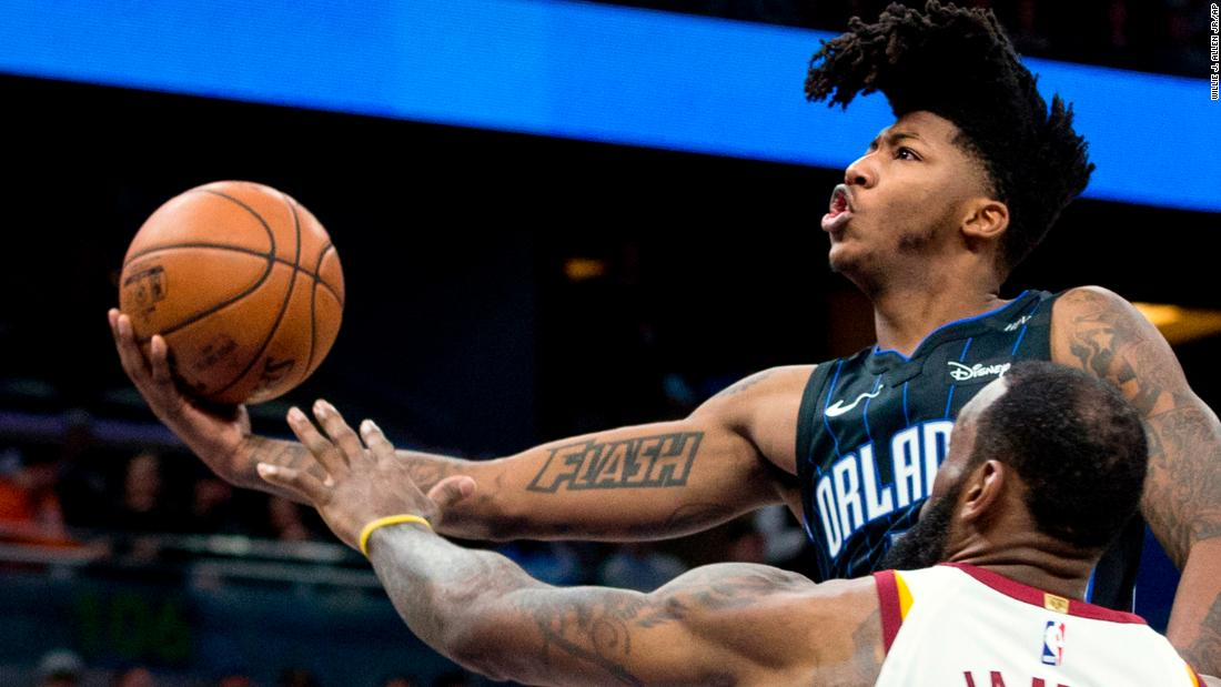 Orlando guard Elfrid Payton rises for a layup during an NBA game against Cleveland on Saturday, January 6.