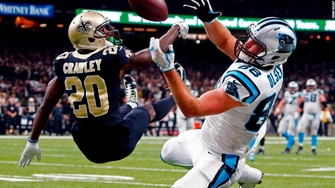 New Orleans cornerback Ken Crawley breaks up a pass intended for Carolina tight end Greg Olsen during an NFL playoff game on Sunday, January 7. New Orleans won 31-26 to advance to the next round.