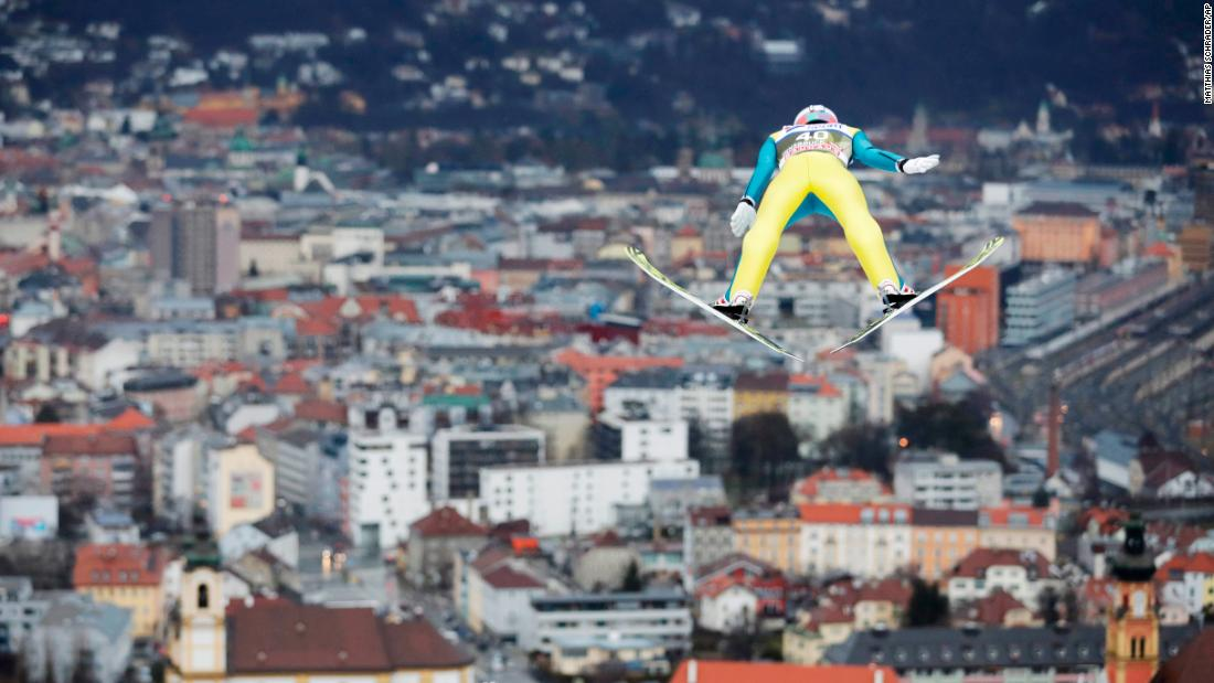 Swiss ski jumper Gregor Deschwanden competes in the Four Hills Tournament in Innsbruck, Austria, on Wednesday, January 3.