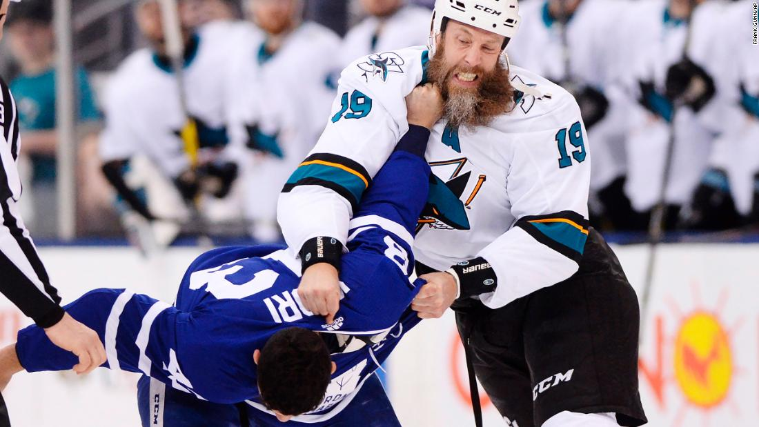 "Toronto's Nazem Kadri gets a fistful of Joe Thornton's beard during an NHL hockey game on Thursday, January 4. Kadri <a href=""http://bleacherreport.com/articles/2752528-sharks-joe-thornton-loses-part-of-his-beard-in-fight-with-torontos-nazem-kadri"" target=""_blank"">ripped out some of Thornton's hair</a> during the fight."