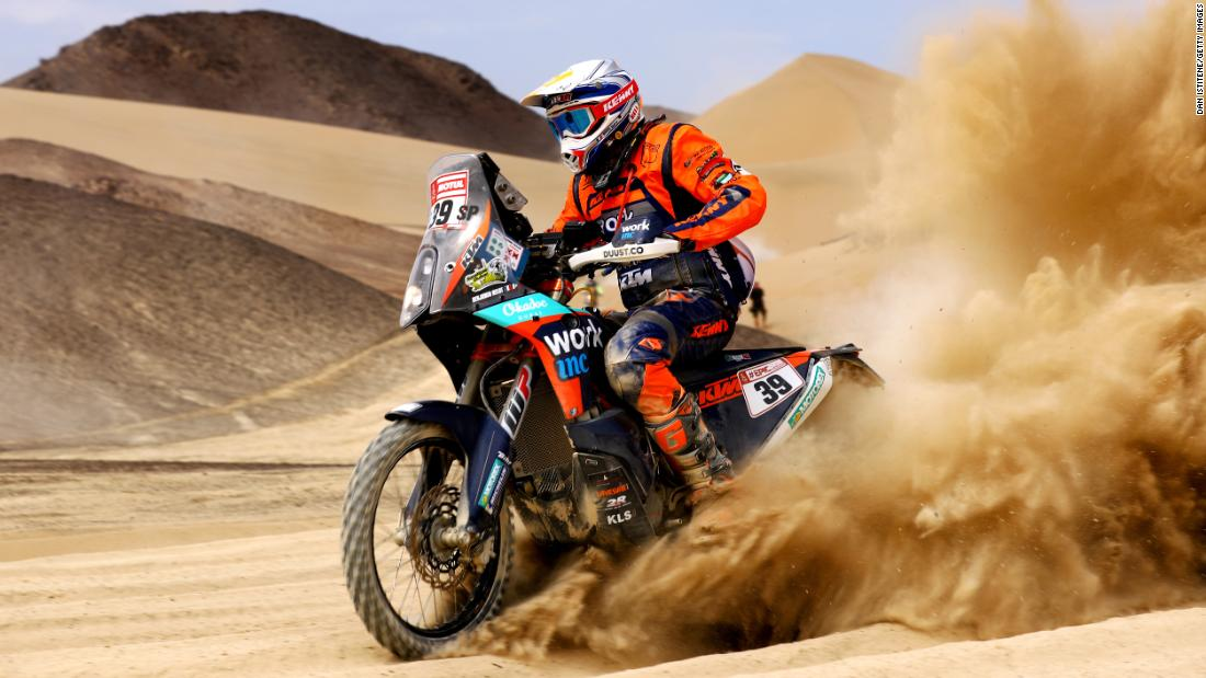Benjamin Melot rides his motorbike during stage two of the Dakar Rally on Sunday, January 7.