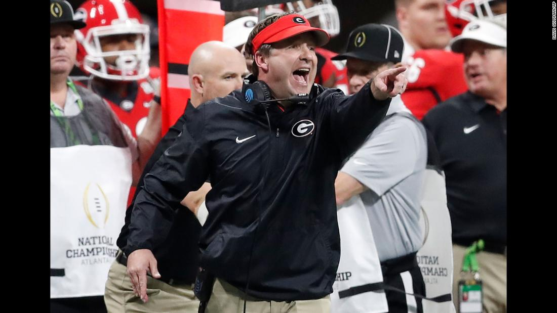 Georgia head coach Kirby Smart reacts to a first-quarter play. This is Smart's second year as Georgia head coach. Before taking the job, he was Alabama's defensive coordinator.