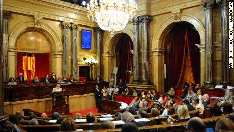 General view taken during a vote on a call to ban bullfighting in northeastern Spain at the parliament in Barcelona. Catalonia's parliament voted on July 28, 2010 to ban bullfighting from January 1, 2012 becoming the first region in mainland Spain to act against the centuries old tradition.  AFP PHOTO / LLUIS GENE (Photo credit should read LLUIS GENE/AFP/Getty Images)