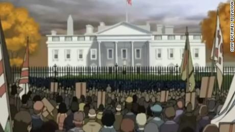 "An ending scene from ""Return of the King"" showing protests in front of the White House."