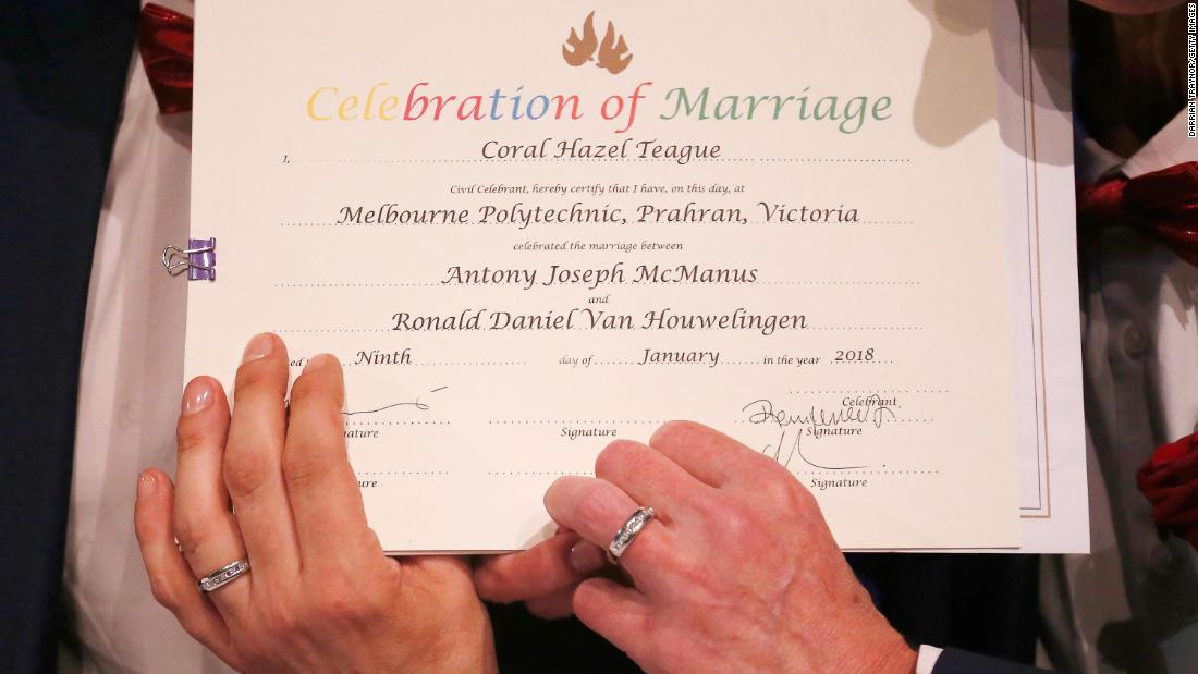 Australian Same Sex Couples Say I Do Cnn