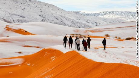 Snow in the Sahara Desert near the town of Ain Sefra, Algeria
