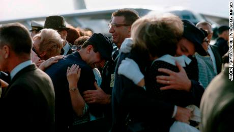 The USS Pueblo crew greet relatives upon returning from captivity in North Korea.