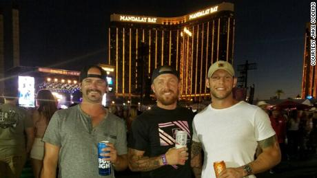 Jake Codemo, center, with his friends less than an hour before the shooting. They had a room at Mandalay Bay, two floors beneath the gunman.