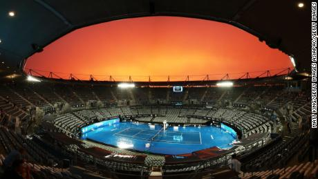 The Ken Rosewall Arena as rain stops play during day three of the 2018 Sydney International at Sydney Olympic Park Tennis Centre