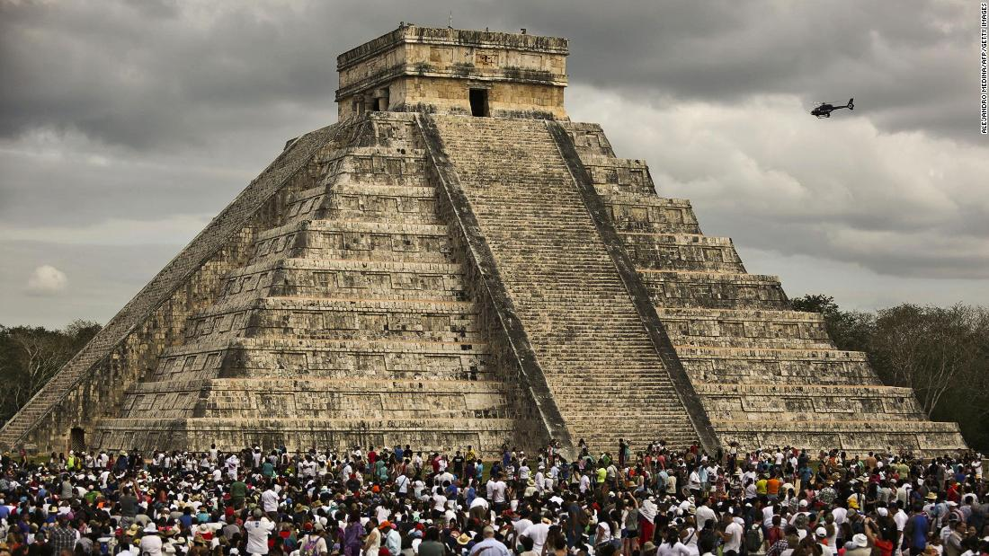 "Chichen itza, in Yucatan state, is one of the most impressive achievements of the ancient Mayan people. Pictured, thousands of tourists surround ""El Castillo"" during a spring equinox celebration."